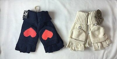 Monsoon Accessorize Ivory/Navy Knitted Fingerless Gloves/Mittens x 2 (a579)
