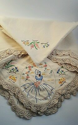 Vintage Handmade tablecloth Embroidery Crocheted Edges Southern Bell Flowers