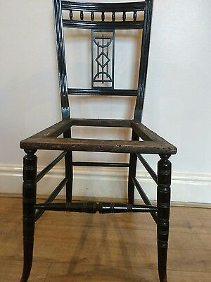 Edwardian ebonised bedroom chair, re-upholstery project