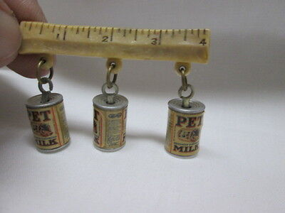 Vintage 1939 World's Fair Pet Milk Advertising Miniature Can Charms on Pin