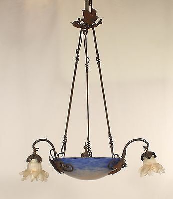Antique 6 Light French Art Deco Wrought Iron w/ Mottled Glass & Glass Shades