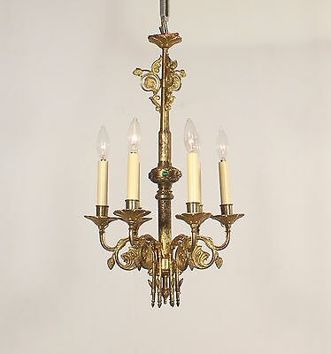 Antique Pair of 6 Light Gothic Bronze Chandeliers