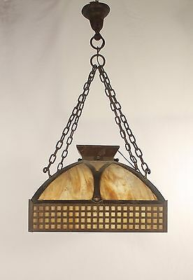 Antique Mission Arts & Crafts Caramel Slag Glass Hanging Chandelier U.S. 1900's