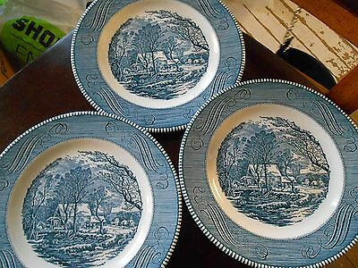 """(3) Royal China Currier and Ives """"The Old Grist Mill"""" 10"""" Blue Dinner Plates"""