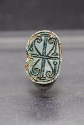 Superb Ancient Egyptian Faience Scarab With Beautiful Impression