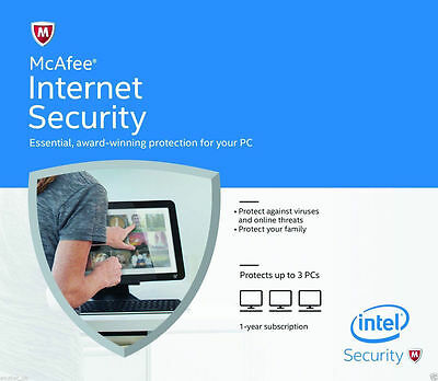 McAfee Internet Security 2016 1 Year Licence for 3 PC Users - Latest Edition