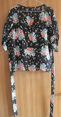Ladies Black Floral Top/Shirt from Next - Size 10