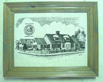 "The Toll House Whitman MA 16"" x 20"" Wood Framed Folk Linen Textile Wall Art"