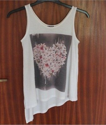 New Look Generation Asymmetric Floral Heart Top 12-13 Years Old Size 4/6/8