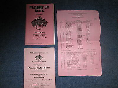 MEMBERS DAY RACES SNETTERTON  3rd/4th MAY 1980 PROGRAMME RESULT SHEETS AND REGS