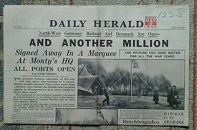 Daily Herald dated 5th May 1945 (end of WW2)