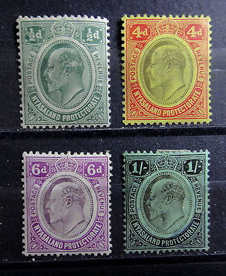 NYASALAND 1908 stamps Set / Lot with 1/-  - Mint MH - VF - r32b1575
