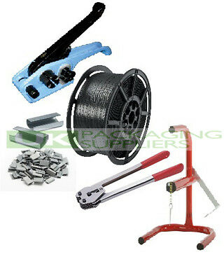 Hand Pallet Strapping Banding Kit 12Mm Coil + Tension Seal Tools + Seals + Stand