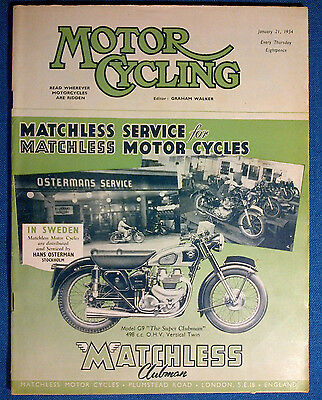 MotorCycling magazine 21 January 1954, Front Cover Matchless G9