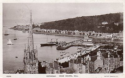 Vintage Postcard Rothesay Town Harbour Steamer Houses Church Spire Over View Rp