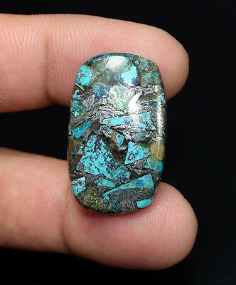 Gorgeous 18.45 Cts. Natural Silver Chrysocolla Cushion Cab Loose Gemstones