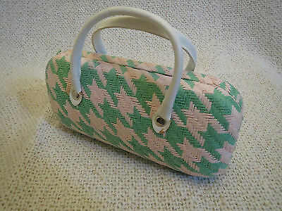 Pretty pink & green woven sunglasses carry case/holder/pouch, glasses holder