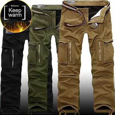 Men Warm Winter Military Army Combat Work Cargo Pant Trousers Cotton