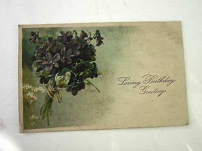 1908 Old Birthday Greetings Card Violets Abercynon