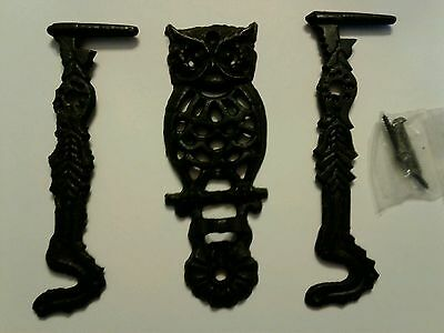 Cast Iron Owl w/hook and extra hook & screws Vintage decor
