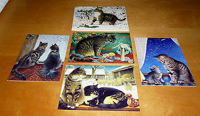 5 x ASSORTED LESLEY ANNE IVORY CATS WINTER CATS LOOSE BLANK CARDS WITH ENVELOPES