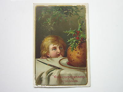 Early Christmas Greetings Card -- Child And Christmas Plum Pudding - Compliments