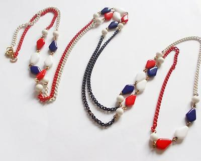 Vintage 1960's Black White & Red Enamel Chain Glass Beads Beaded Long Necklace