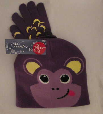 Nwt Winter Basics Adorable Knit Monkey Knit Cap & Gloves  ~ Childs One Size