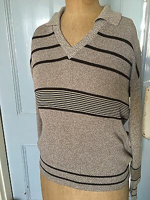 Vintage  1970's Fred Perry 2 In 1 Jumper Brown And Beige Stripes