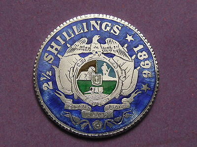 Enamelled Coin , South Africa 2 & 1/2 Shillings 1896 / Halfcrown