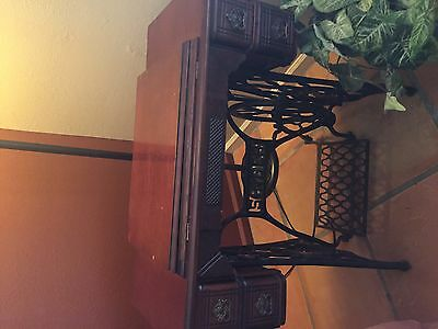 Antique Singer Sewing Machine Model 27 Treadle Red Eye with Cabinet