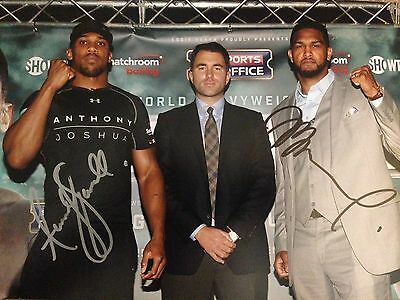 Original Hand Signed  Boxing Picture, Anthony Joshua & Dominic Breazeale 2