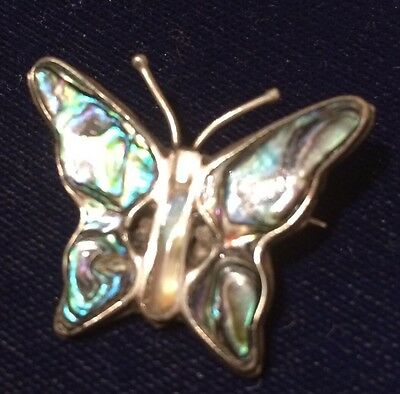 VERY PRETTY ABALONE / SHELL  PENDANT WITH PIN - Butterfly - Makers Mark