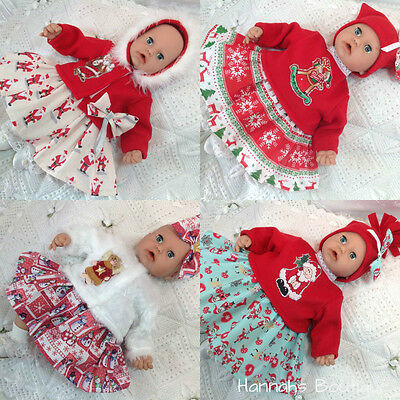 """Hannahs Boutique Christmas Baby Dolls Clothes-Outfits To Fit 17-19"""" Play Dolls"""