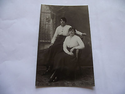 Vintage Real Photo Postcard. Two Young Women Seated. Unused