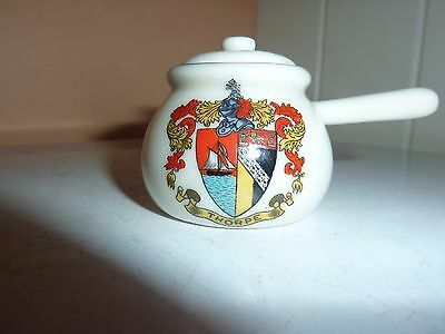 Arcadian China 4.5 Cm Model Of A Cooking Pot & Cover With Thorpe [Norwich] Crest