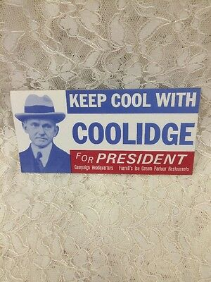 Farrell's Ice Cream / Keep Cool w Coolidge for President Campaign Bumper Sticker