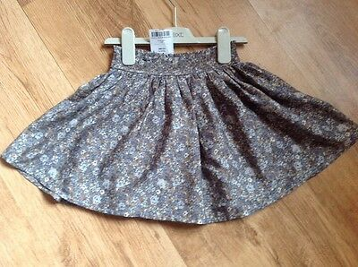 Next Girls Brown & Grey Pretty Floral Skirt Age 4 BNWT