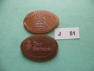 Lot Of 2 Elongated Coins #j51