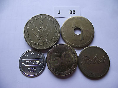 Lot Of 5 Tokens. J88