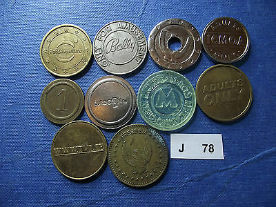 Lot Of 10 Different Tokens. J78