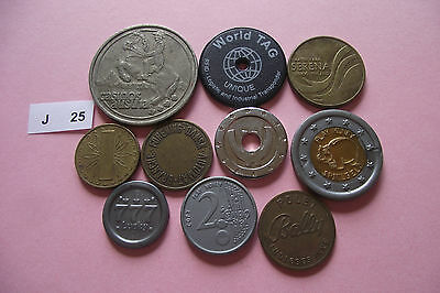 Lot Of 10 Different Tokens#j25