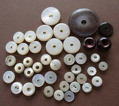 ANTIQUE VINTAGE MOTHER of PEARL WHISTLE BUTTONS inc. CARVED & COLOURED 41 pcs.