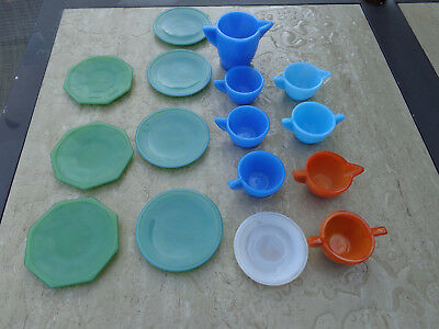 Vintage AKRO AGATE Assorted Child's 16 Pc. TEA SET - Blue Turquoise Green Orange