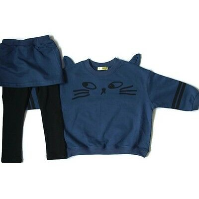 Girls Cat Face Navy Jumper, Skirt & Leggings Set. Cat Ears / Age 1-2/ 5-6 Years