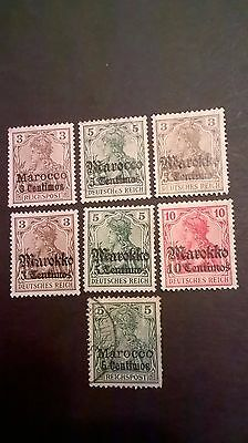 Germany  1900 Germania issue - Morocco overprints -  hinged mint