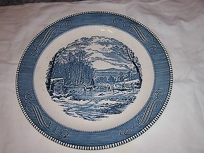 """Vintage Royal China Currier & Ives 12"""" Charger """"getting Ice"""""""
