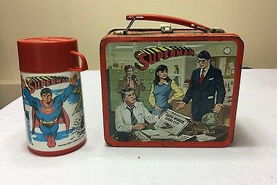 Vintage 1978 SUPERMAN Movie LUNCHBOX & THERMOS Christopher Reeve