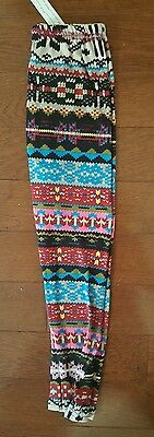 SILVER Girls Aztec Design Leggings -  SIZE S/M NEW WITH TAGS Size 4-6