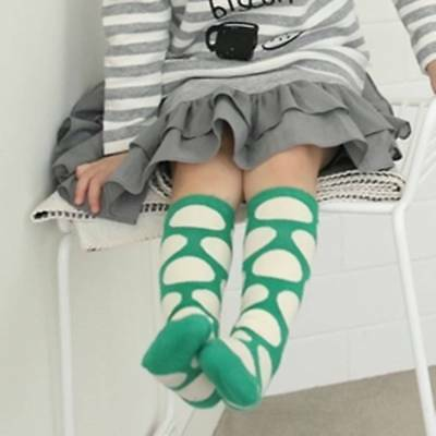 Spotty Knee Socks Green White Spots Kids Baby Toddler Cotton Dots 1-2 Years